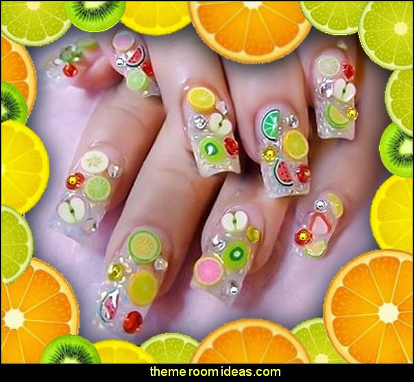 fruit nail art - decorating nails fruit themed nail art decorations