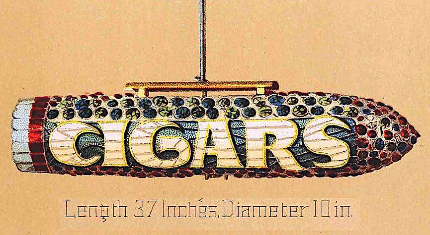 an 1887 cigar store illuminated sign color illustration from a catalog