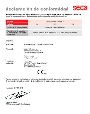 declaracion de conformidad de tallimetro clinico seca 206