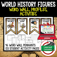 World History Profiles & Activity Pages (History) Digital Google Option, Word Wall