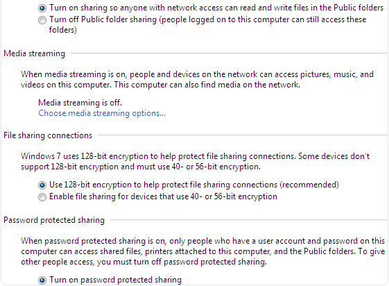 Windows network file sharing password sharing settings