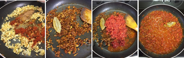 add spices to fried onion, mix, add tomatoes, cook