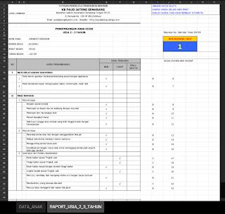 Contoh Raport Kelompok Bermain Kurikulum 2013