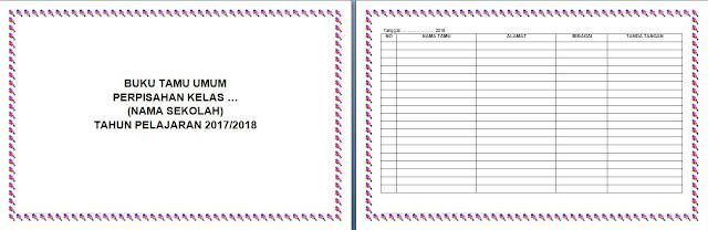cover dan tabel buku tamu perpisahan kelas (untuk tamu selain orangtua siswa)