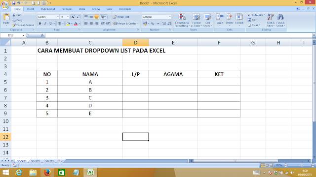 Belajar Excel Cara Membuat Drop Down List