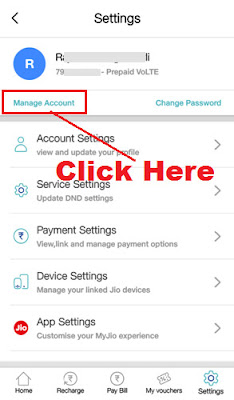 how to remove linked account in my jio app