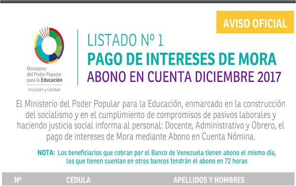 LISTADO Nº 1 PAGO DE INTERESES DE MORA ABONO EN CUENTA DICIEMBRE 2017