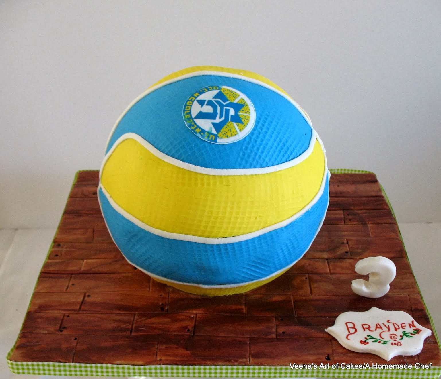 a cake in the shape of a basketball.