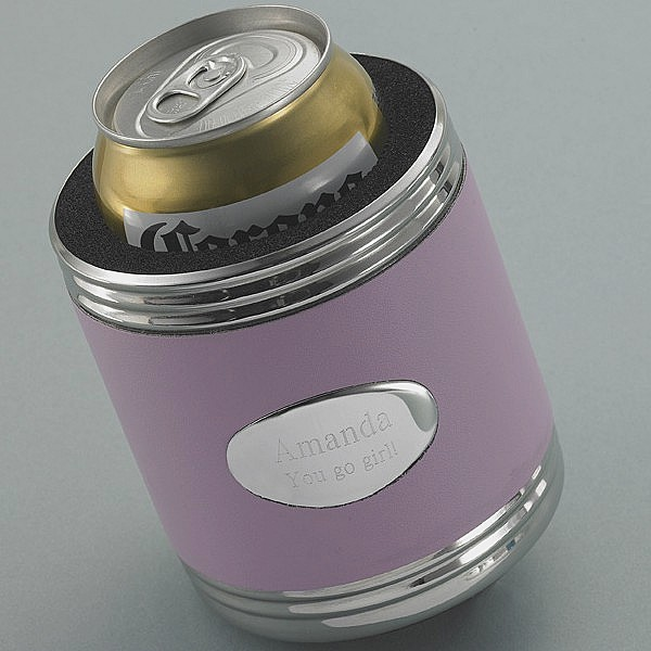 Personalized Silver Plated Can Koozie