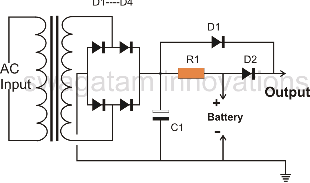 parts required for the simple battery backup circuit
