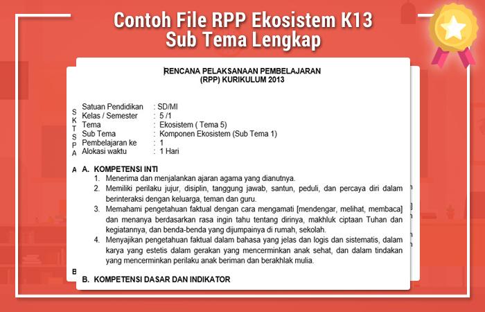 Contoh File RPP Ekosistem K13 Sub Tema Lengkap
