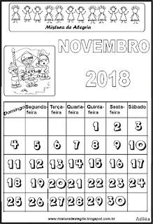 Calendário de 2018 para colorir