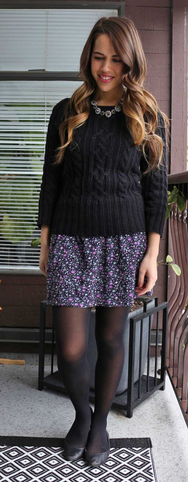 Jules in Flats - Forever 21 Floral Dress, Joe Fresh Cable Knit Sweater