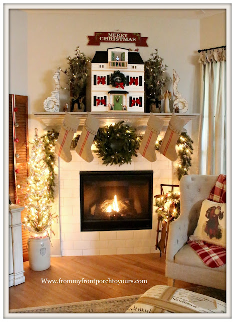French -Country -Farmhouse- Christmas Mantel-Grain Sack Stockings-Vintage Sled-Hearth & Hand- Doll House-Corbels-Vintage Style-From My Front Porch To Yours