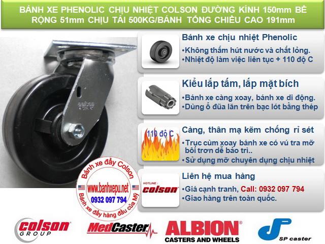 Bánh xe Phenolic chịu nhiệt càng xoay 150mm Colson Mỹ| 4-6109-339 www.banhxeday.xya