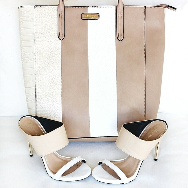 Fullah Sugah beige striped tote bag.Beige and white mules heels.