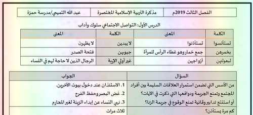 مذكرة تربية اسلامية للصف الثانى عشر الفصل الثالث 2019 - مناهج الامارات