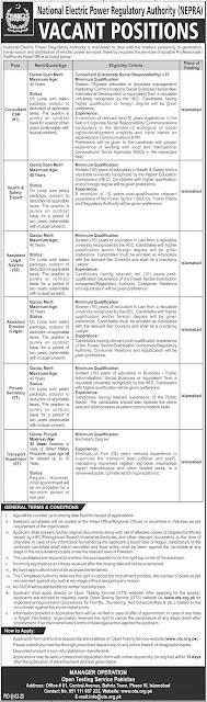 National Electric Power Regulatory Authority NEPRA Jobs 2020 apply online via OTS