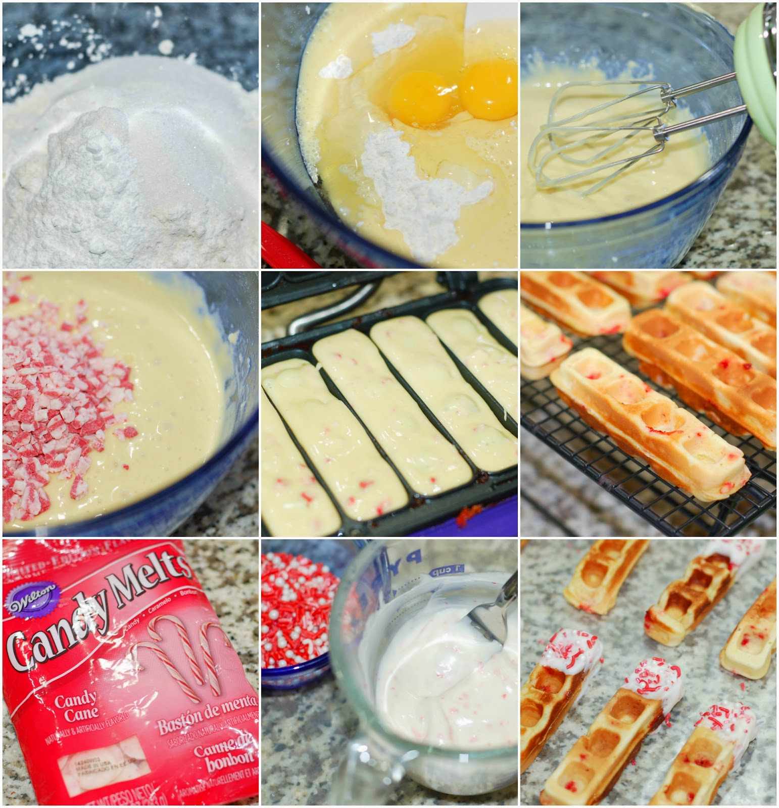 Making Peppermint Eggnog Waffle Sticks by The Sweet Chick