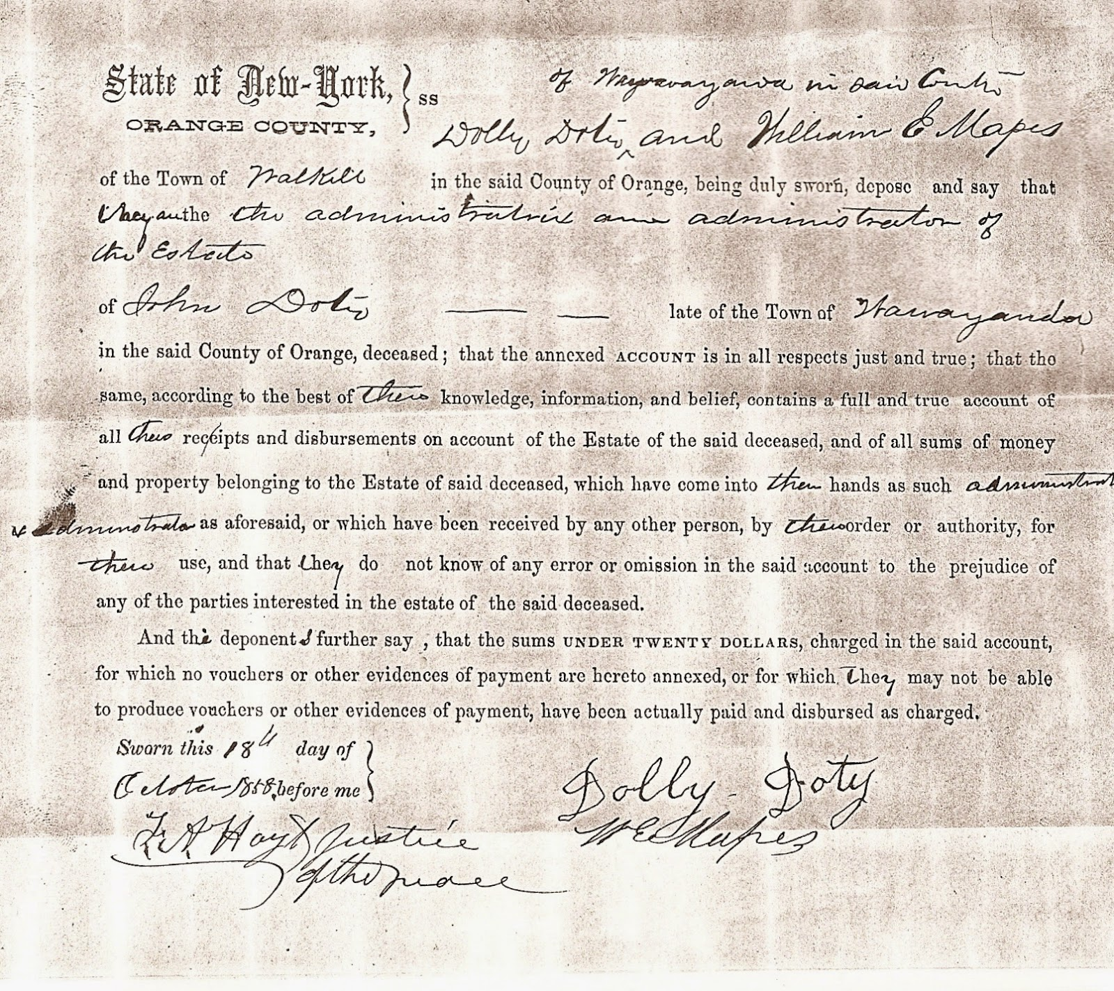 Document from John Doty's Estate Packet, Orange Co., NY