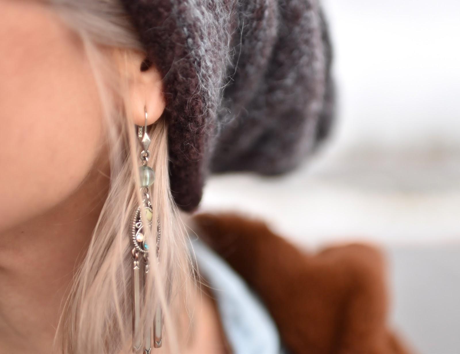 Monika Faulkner outfit inspiration - woolen beanie, earring detail