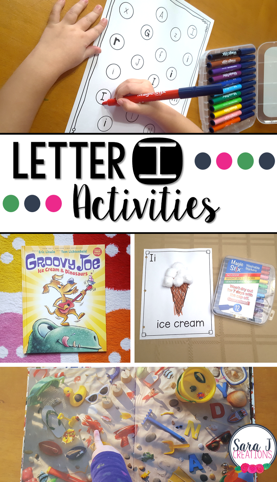 Letter I Activities that would be perfect for #preschool or #kindergarten. Art, fine motor, #literacy and #alphabet practice all rolled into Letter I fun. #sarajcreations