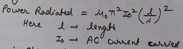 Power Radiated by the antenna Formula, formula for Power Radiation, Microwaves power radiation formula, microwaves antenna power radiated