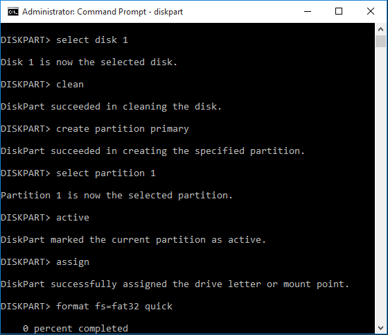 Booting windows 10 on pen drive using command prompt