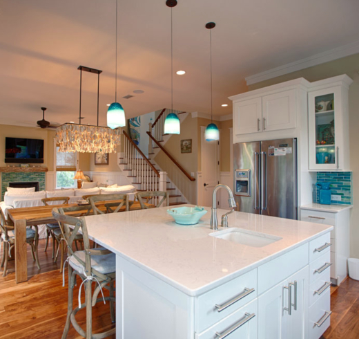 Blue Pendant Lights above Kitchen Island