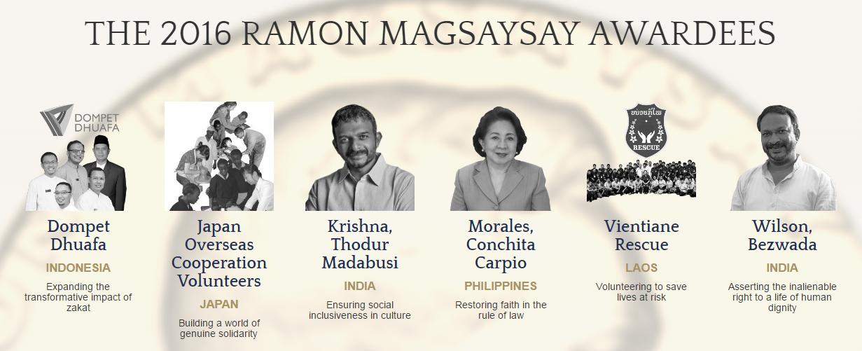 The 2016 Ramon Magsaysay Awardees.