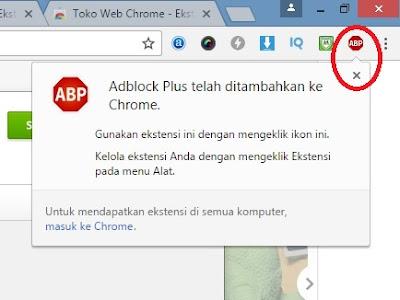 Adblock Plus telah terpasang - Cara Menghilangkan Iklan di Browser Google Chrome