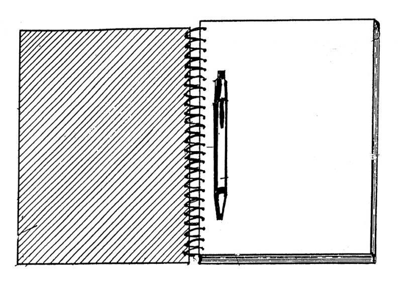 Dibujo Para Colorear Libreta: La Musa En El Borde: Cuaderno En La Mesa De Luz