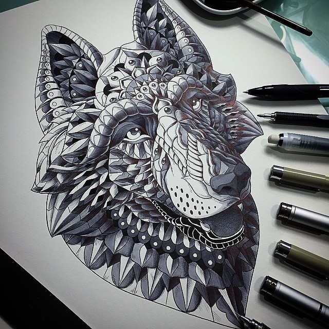 08-German-Shepherd-Dog-Ben-Kwok-Ornate-and-Intricate-Animal-Drawings-www-designstack-co