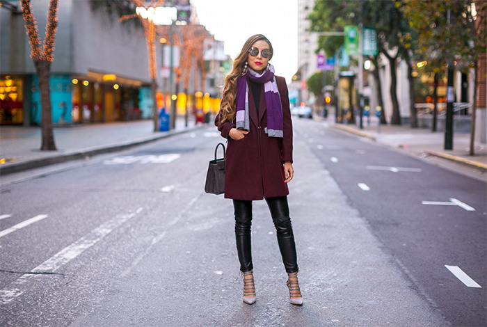 Topshop meg zip pocket coat, burgundy coat, baublebar earrings, jimmy choo sunglasses, halogen colorblock scarf, saint laurent sac de jour bag, blank denim moto pants, aquazzura lace up pupms, san francscio street style, san francisco fashion blog, winter outfit ideas