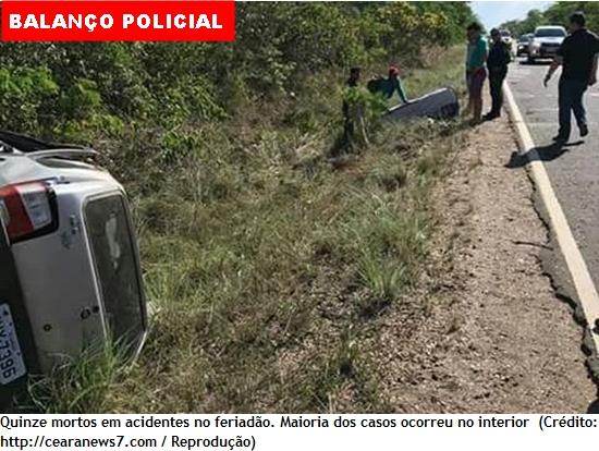 Feriadão de Ano-Novo violento no Ceará com 79 mortes em acidentes e assassinatos