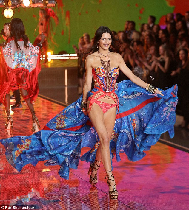 Kendall made her VS Runway debut in a strapless corset number