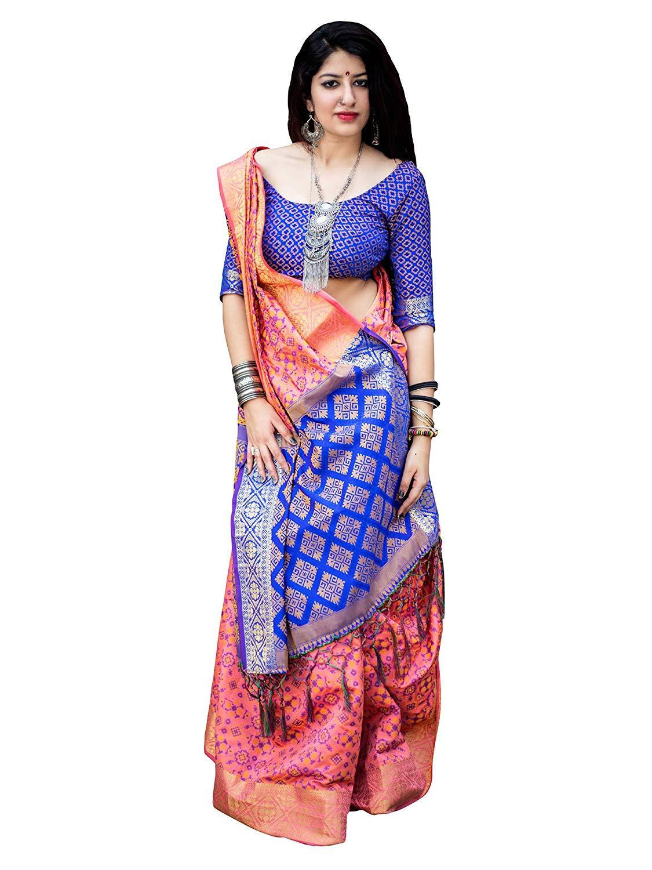 Applecreation Women'S Patola Silk Saree With Blouse Piece (11)