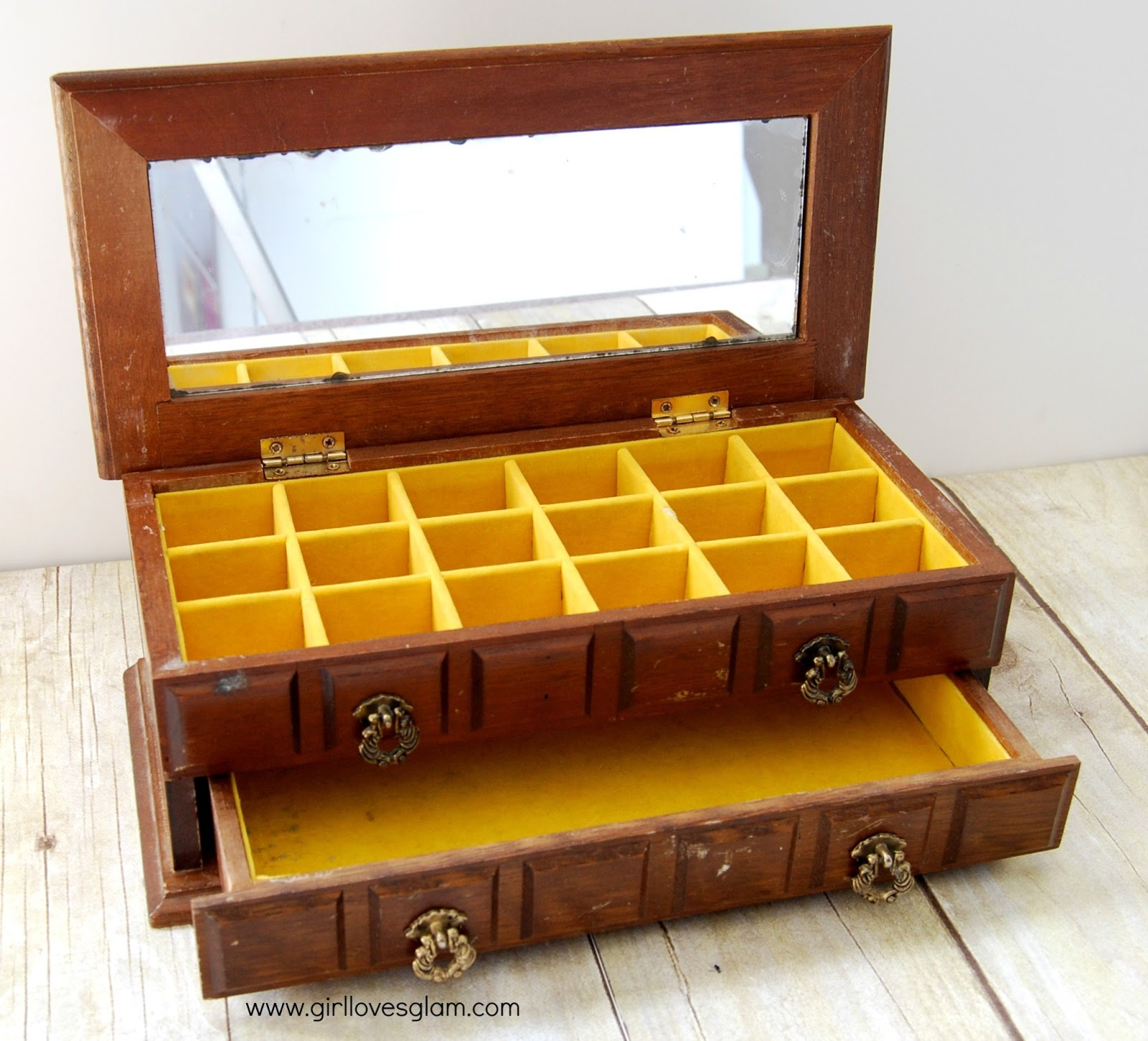 Vintage Wooden Jewelry Box Makeover Girl Loves Glam
