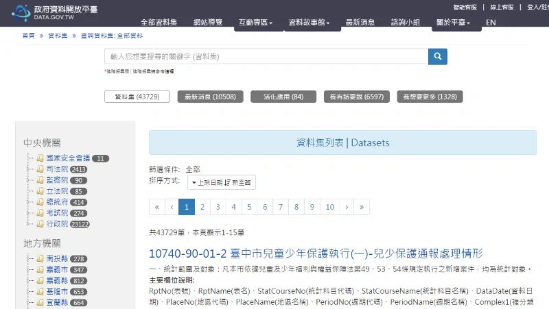 national open data portal of Taiwan