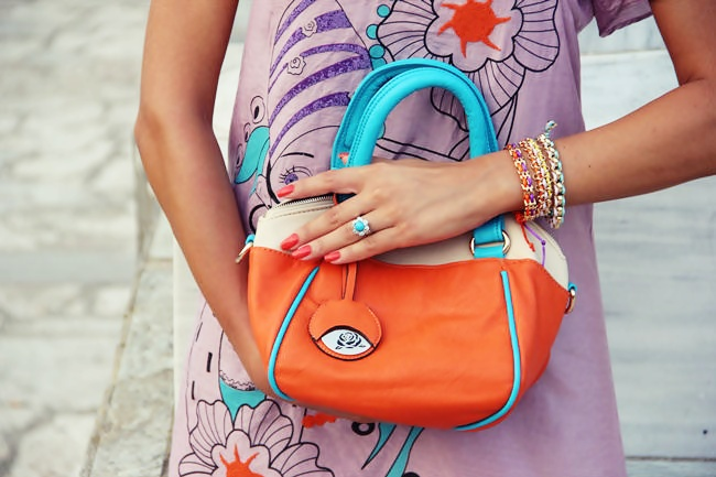 orange lilac turquoise accessories