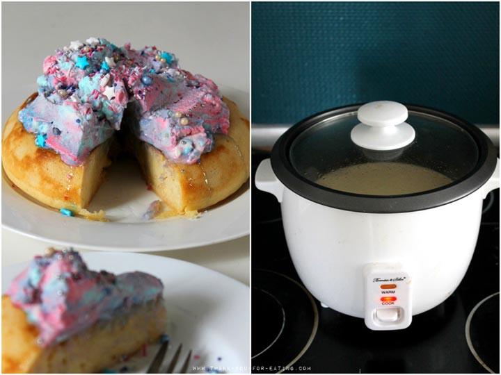 Pancake aus dem Reiskocher mit Galaxy-Sahne