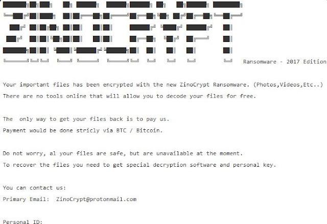 ZinoCrypt - Ficheros cifrados .ZINO (Ransomware)