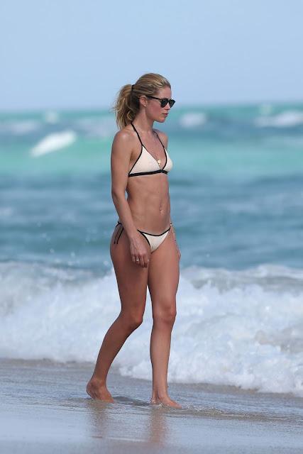 Doutzen Kroes Hot in Bikini at the Beach in Miami
