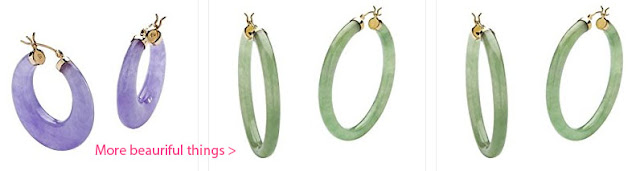 jade hoop earrrings with lavender green and other colors
