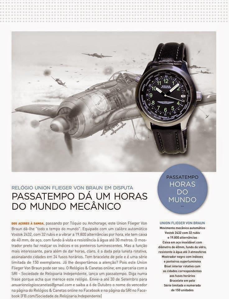20fb95e9aed Habilite-se a um relógio Union Flieger Horas do Mundo mecânico