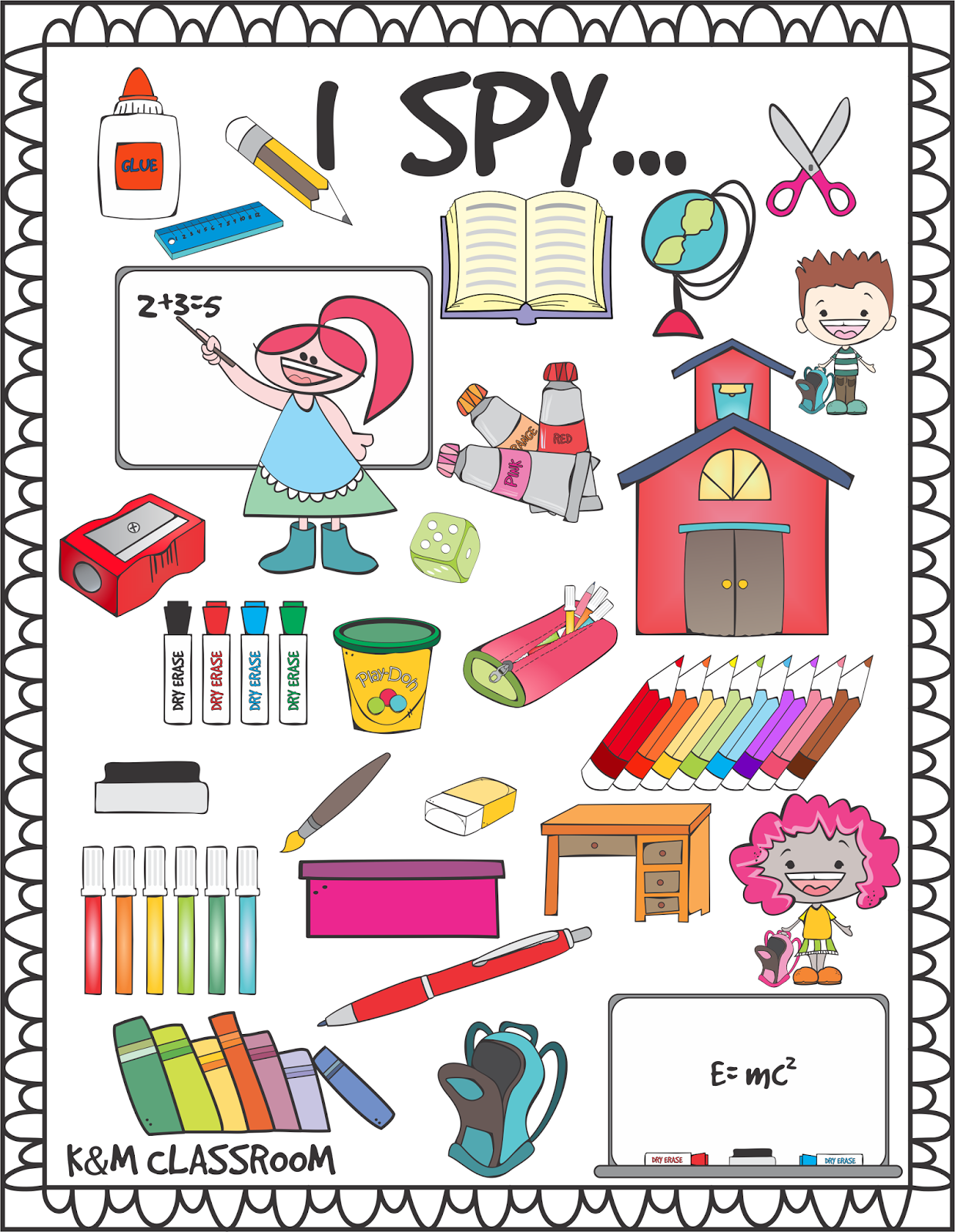 Free Printable I Spy School Supplies