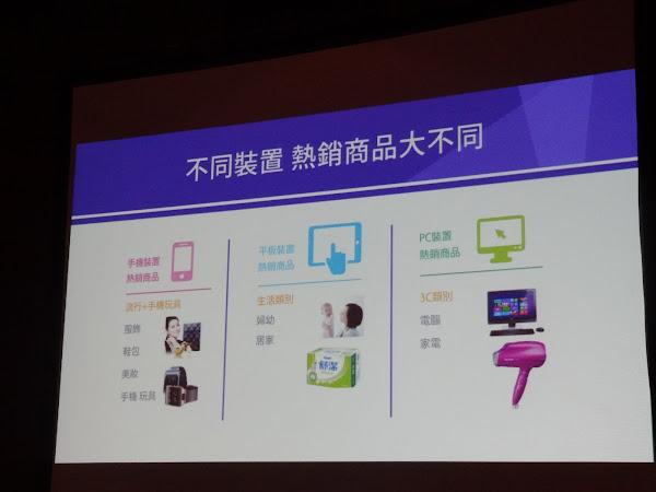 Yahoo奇摩不同裝置的熱銷商品不同