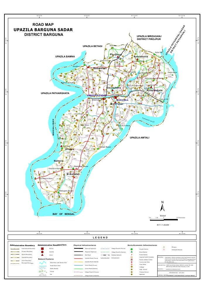 Barguna Sadar Upazila Road Map Barguna District Bangladesh