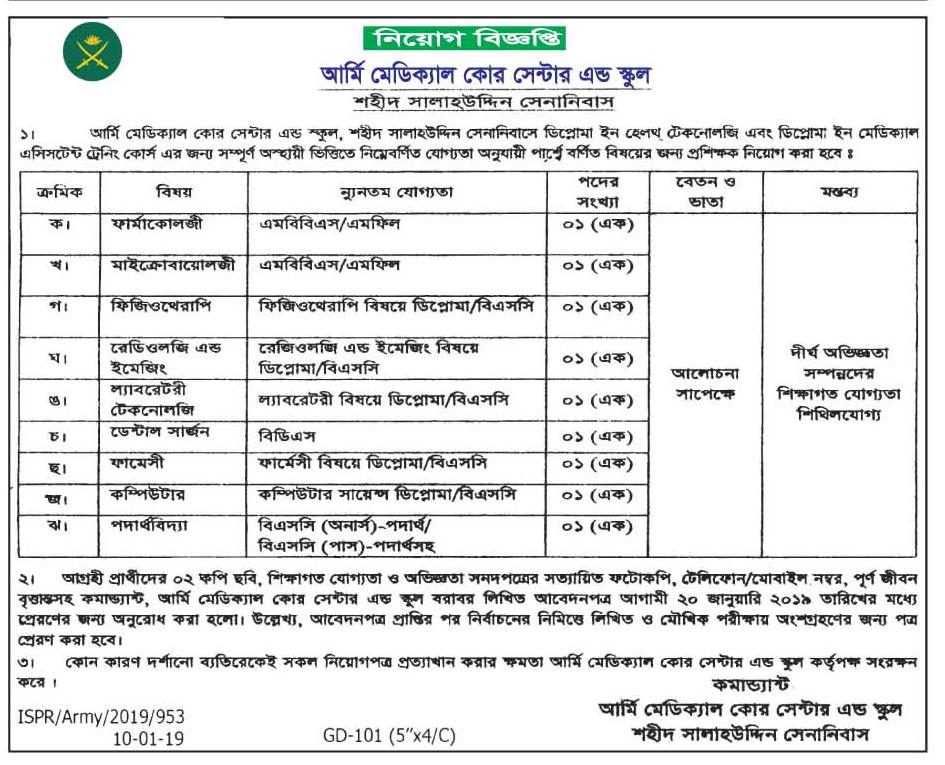 Army Medical Core Center and School Job Circular 2019