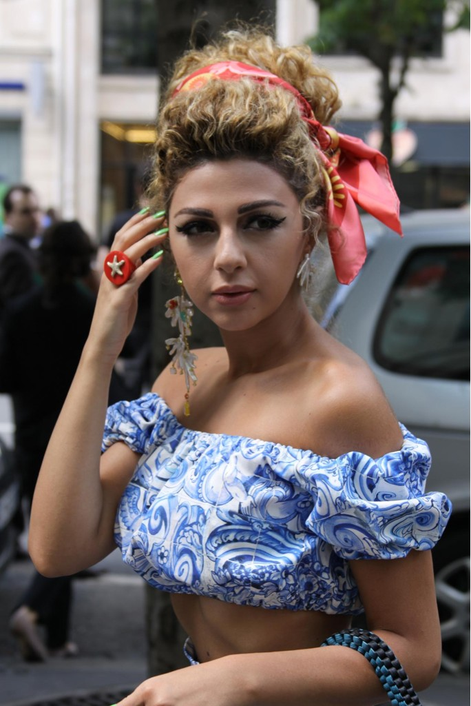 Lebaneese Singer Myriam Faris Heat Up Paris Fashion Week With Her Hot Outfits Hmm Maybe Not She Showed Up To Jean Paul Gaultier Show Wearing All Prada